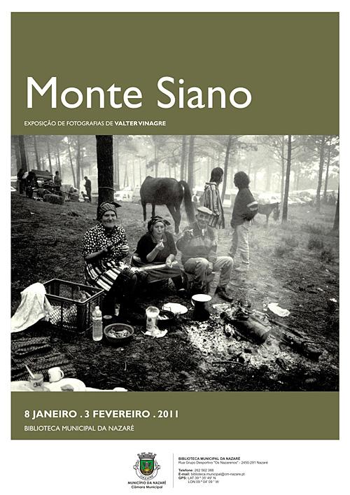 """Cartaz de divulgação da Exposição de fotografia \""""Monte Siano\"""" de Valter Vinagre, na Biblioteca Municipal da Nazaré"""